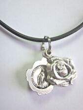 """Miraculous Medal Locket Style Rose Slide Pendant Necklace 17"""" - 19"""" Cord"""
