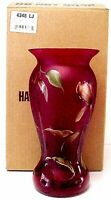 Fenton Glass Golden Tulips On Ruby Horizons Vase Limited Edition 646 of 950 MIB