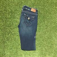 Vintage TRUE RELIGION Womens Flare Jeans 28 x 34 Dark Wash | Y2K Stretch USA