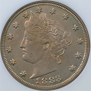 """1883 NO CENTS LIBERTY """"V"""" NICKEL NGC MS 65 WELL STRUCK WITH A PEACHY GOLD HUE"""