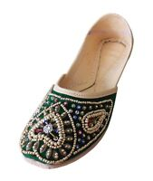 Women Shoes Traditional Jutties Indian Mojari Oxfords Green UK 7-9.5 EU 41-44