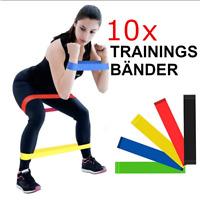 10 x Fitnessbänder Pilates YOGA Sport Gummiband Gymnastikband Trainings Bänder