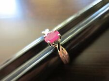 Sterling Silver Signed Unique VTG Old Style Red-Pink Ruby Delicate Ring Sz 7=2g