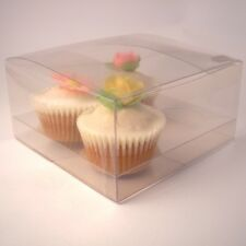 Clear cupcake boxes and inserts for 4 cupcakes: Pack of 5