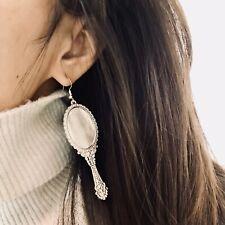 S925 sterling silver Hooks Earring with  mirror pendants