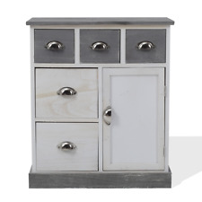 Mobili Rebecca Cupboard 5 Drawers Wood White Grey Vintage Shabby 70x60x30