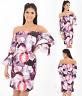 1015 Floral Frill Sleeve Bardot Off Shoulder Bodycon Summer Evening Party Dress