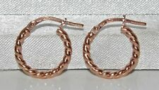 9CT ROSE GOLD ON SILVER LADIES TWISTED CREOLE HOOP EARRINGS