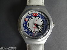 SWATCH MONTRE BRACELET IRONY BIG ALU CUIR BLANC HOMME PREPPIE YGS1001C MAN WATCH