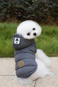 Jacket Pet Winter Cotton Coat Hoodie Hat Warm Apparel Puppy Cat Dog Clothes Vest