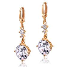 Stunning-New-18k-Rose-Gold-Plated-Women Round Cut CZ Drop-Dangle-Earrings