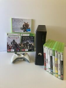 Microsoft Xbox 360 S Console Bundle + 1 controller + 11 Games! TESTED & WORKING