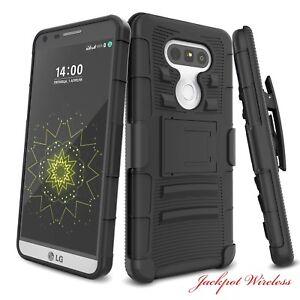 For LG G5 Rugged Shockproof Hybrid Armor Hard Case Belt Clip Holster Kickstand