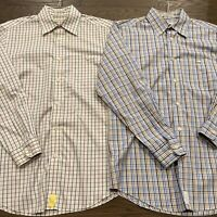 Lot of 2 ORVIS Casual Button Down Shirts Long Sleeve Cotton Mens Cotton Medium M