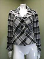 Nine West Women's Black, Gray & White Plaid Pea Coat Jacket~Size 4