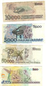 Brasilien, Cruzeros 4 Banknoten, aus Umlauf