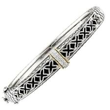 Andrea Candela 18k Gold & Silver Black Onyx Cable Diamond Bangle ACB227/11-ON