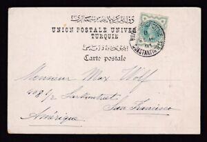 Turkey to USA 1901 PPC GB ½d via British Post Office Constantinople code B