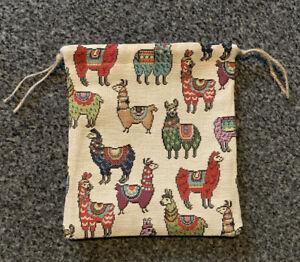 Handmade Llama Fabric Drawstring Gift Bag Storage Bag