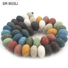 """10x15mm Rondelle Mixed Lava GEMSTONE Jewelry Making Spacer Beads Strand 15"""""""