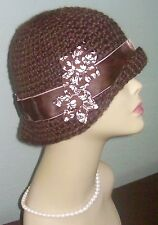 Handmade Warm Winter Cloche Hat Velvet Suede Brown Holiday Fabric Flowers USA