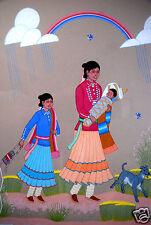 Harrison Begay (Native American,1917-2012) Original Gouache Painting, Dog,Navajo