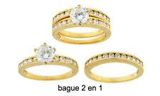 Dolly-Bijoux Bague T58 2 en 1 Pavé Diamant Cz 7 mm Plaqué Or 18K & 24K 5Microns
