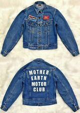 VTG 70s LEE RIDERS Denim Trucker Jacket Patches Mother Earth Motor Club XS S 18