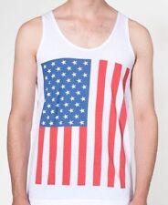 American Apparel Jersey Fino Camiseta Tirantes Blanco Rojo Azul Bandera Eua