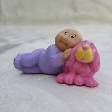 Vintage 1984 Cabbage Patch Plastic Figurine Newborn Purple PJs Pink Stuffed Dog
