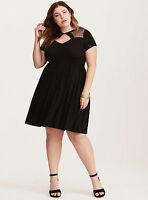 TORRID DOT MESH INSET SKATER DRESS, NWT