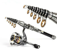 Telescopic Fishing Rod With Spinning Reels Combos Fishing Reel Pole Travel Fish