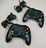 Lot of 2 OEM Official Original Xbox Type S Microsoft Black Controllers Tested