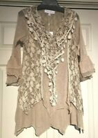 Pretty Angel beautiful crochet lace tunic top S M L XL fully lined