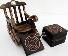 Brass Antique Carved Chair Design Tea Coasters Set - 6 Wooden Coasters in Holder