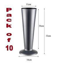 10 SILVER PLASTIC FLORIST DISPLAY VASE.(ex display)W:TOP 11cmxH:32cmxW:BOTTOM