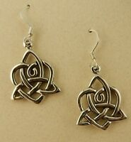 Sterling silver Irish Heart with Celtic Trinity Knot earrings