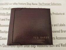 TED BAKER Grain Leather Wallet Mens GEKKO Lizard Dark Red Billfold Wallets BNWOT