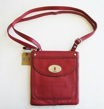 NEW-FOSSIL MADDOX LARET RED LEATHER+SILVER TONE HARDWARE MINI CROSSBODY HANDBAG