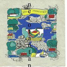 Lago Maggiore.Piccolo originale tecnica mista Penna tempera anni 60