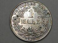 BU 1915-D Silver 1 Mark German Empire Coin.  #162