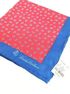 Brooks Brothers 100% Silk RED Royal Blue Trim Floral Scatter Pocket Square NWT