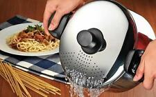22 cm Stainless Steel Pasta Spaghetti Pot With Locking Strainer Induction Lid