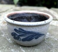 "Vtg ROWE POTTERY salt glazed floral blue MINIATURE bowl 1"" tall; 2"" diam. dated"