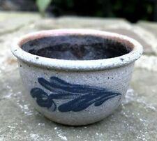 "Vtg ROWE POTTERY salt glazed floral blue MINIATURE bowl 1"" tall; 2"" diam. dated"