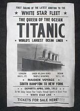"(066) VINTAGE REPRINT ADVERT TITANIC SHIP TICKETS FOR SALE 1912 REPLICA 11""X17"""