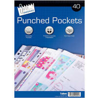 40 A4 CLEAR PLASTIC PUNCHED  POCKETS / WALLETS / SLEEVES FOR FILING + FREE P&P!