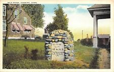 Danbury Connecticut~MM Taylor's Mile Stone Marker to New York~1920s Postcard