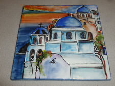 Hand Painted Greece 20 X 20 Tile Church Hellenic Handcrafed Creations Signed