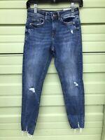 NWT ZARA BLUE Z1975 MID WAIST RIPPED SKINNY JEANS #2708 Size 2  6147 154 407